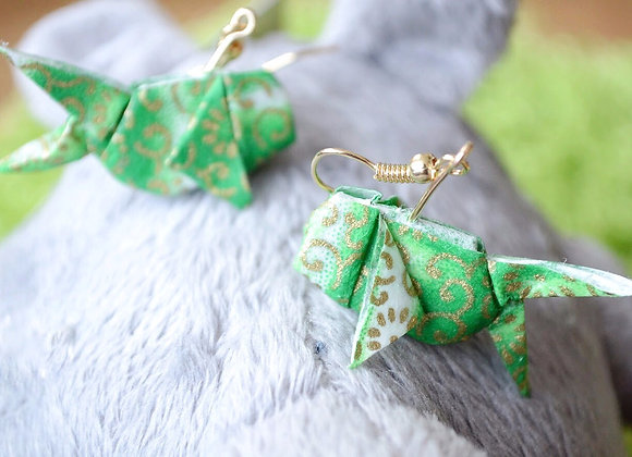 Emerald-Green Origami Goldfish Earrings
