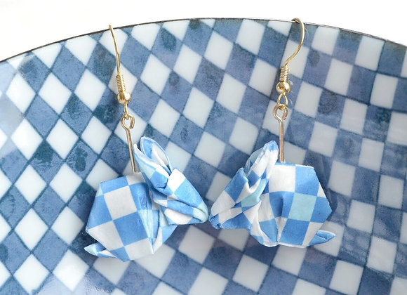 Checkered Blue-White Origami Rabbit Earrings