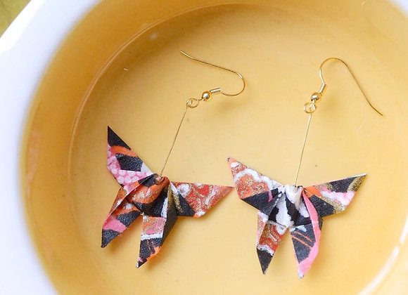 Black-Pink Origami Butterfly Earrings