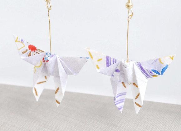 Light-Purple Origami Butterfly Earrings