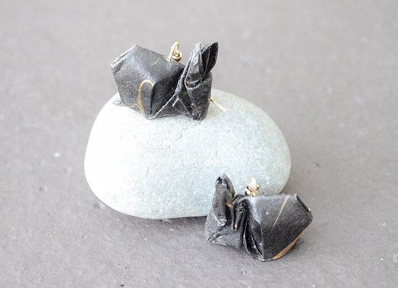 Black Origami Rabbit Earrings