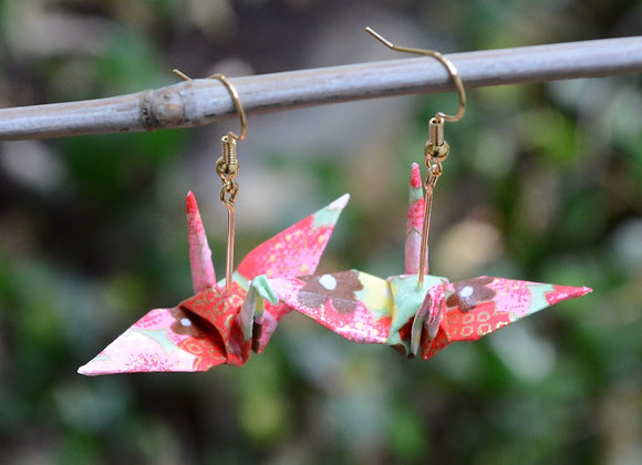 Sakura Origami Crane Earrings