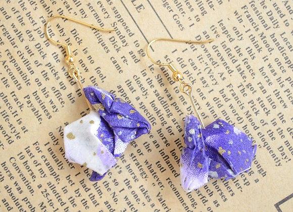 Purple Origami Rabbit Earrings