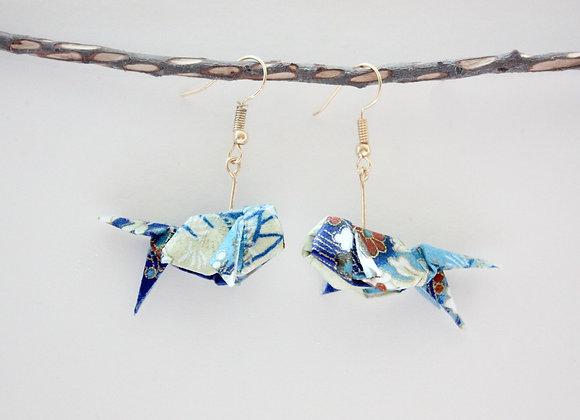 Blue Origami Goldfish Earrings