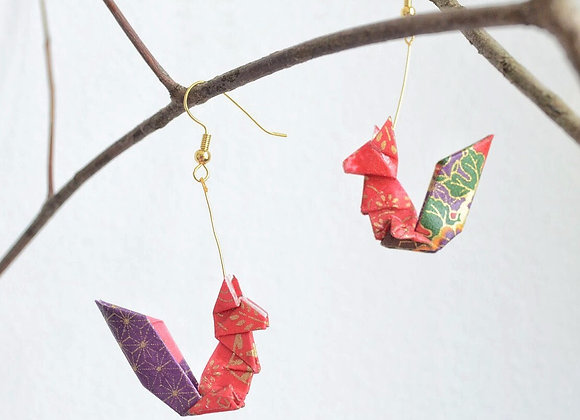 Crimson Origami Squirrel Earrings