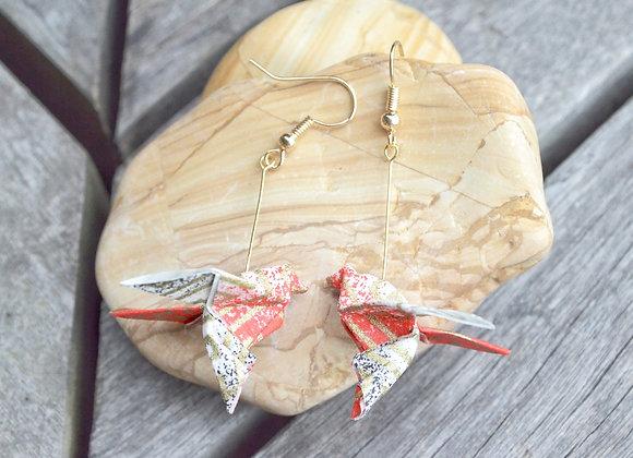 White-Red Origami Songbird Earrings