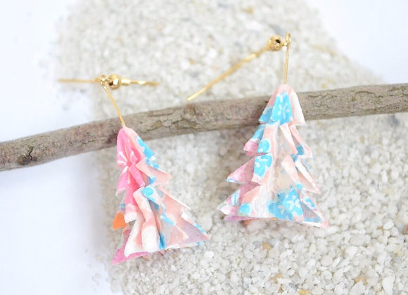 Light Pink Origami Tree Earrings
