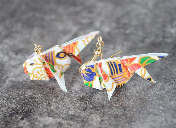 White Origami Goldfish Earrings