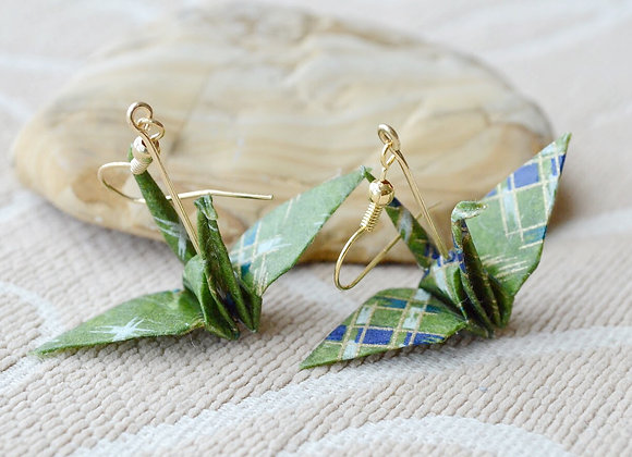 Forest Green Origami Crane Earrings
