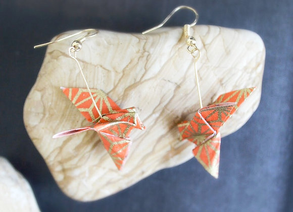 Orange Origami Songbird Earrings