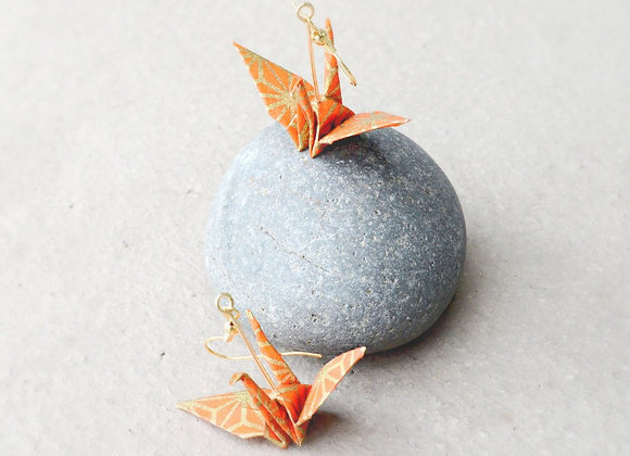 Summer-Orange Origami Crane Earrings