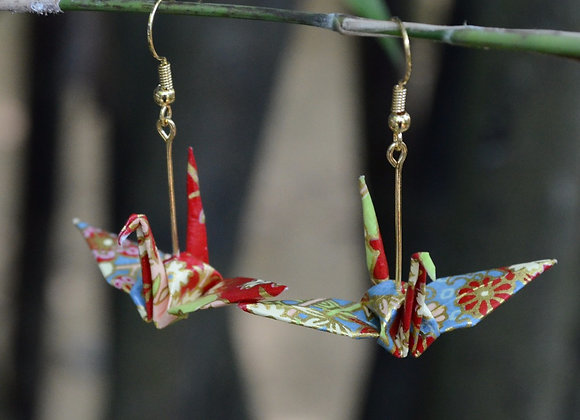 Scarlet-Red Origami Crane Earrings