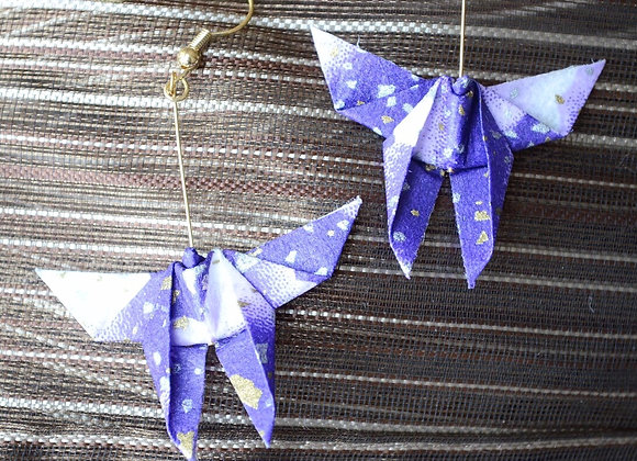 Faded Purple Origami Butterfly Earrings