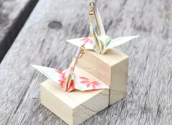 Pastel Yellow Origami Crane Earrings