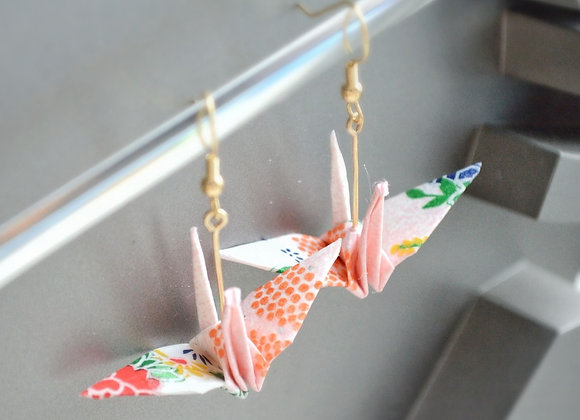Summer Pink Origami Crane Earrings