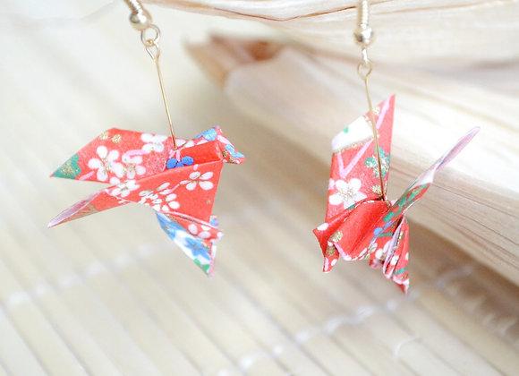 Cherry-Red Origami Songbird Earrings