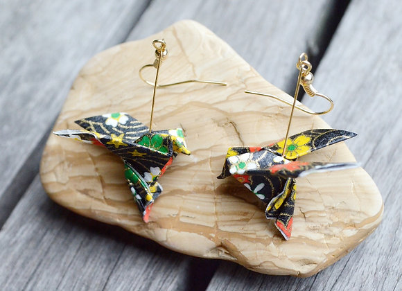 Black Origami Songbird Earrings