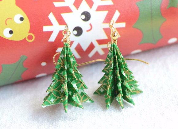 Snow-Green Origami Tree Earrings