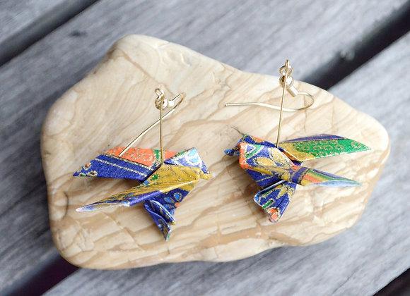 Blue Origami Songbird Earrings