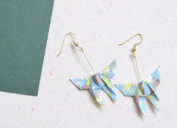 Light-Blue Origami Butterfly Earrings