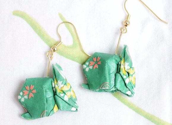 Green Origami Rabbit Earrings