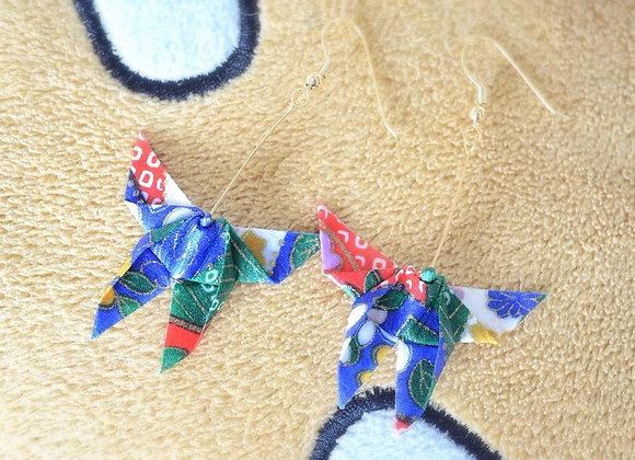 Lapis-Blue Origami Butterfly Earrings