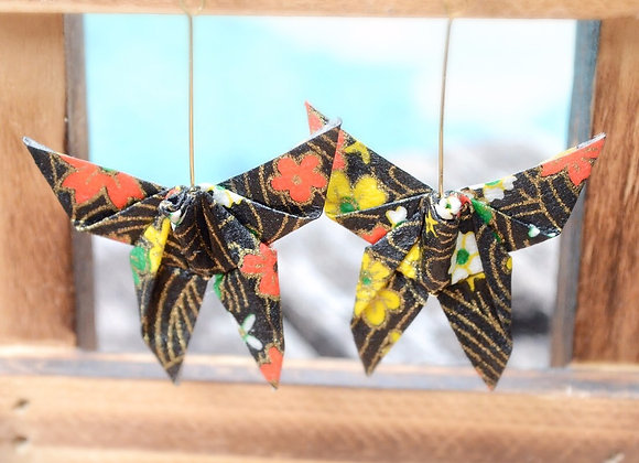 Black Origami Butterfly Earrings