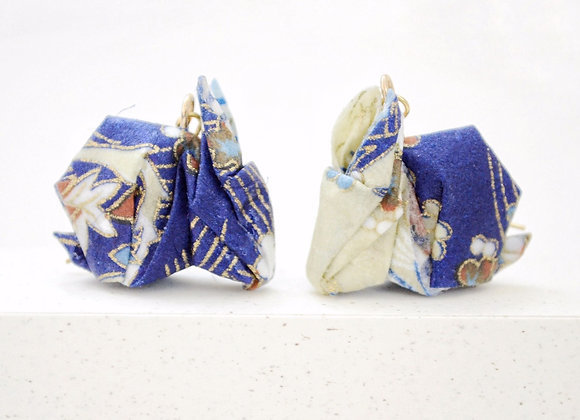 Blue-Cream Origami Rabbit Earrings