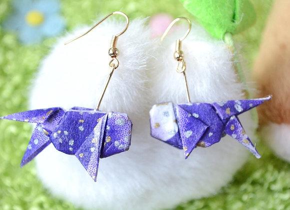 Indigo Origami Goldfish Earrings