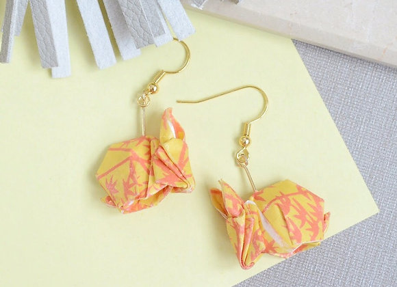 Orange Origami Rabbit Earrings