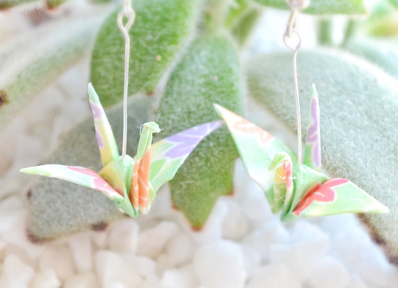 Breezy-Green Origami Crane Earrings