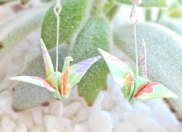 Breezy-Green Origami Crane Earrings