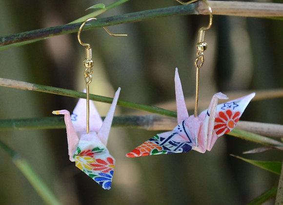 Pink Origami Crane Earrings