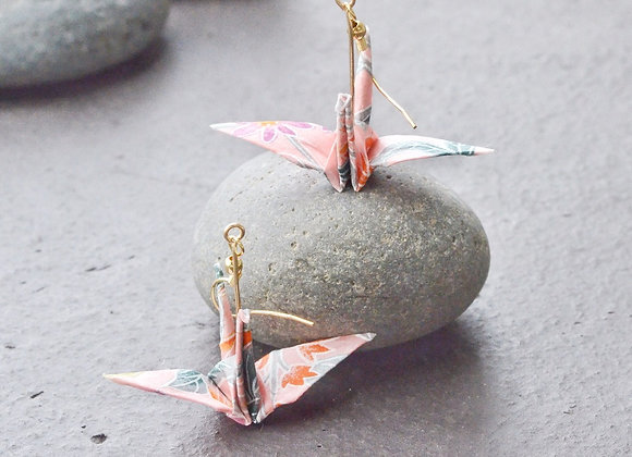 Light Pink Origami Crane Earrings