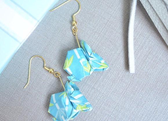 Light Blue Bamboo Origami Rabbit Earrings