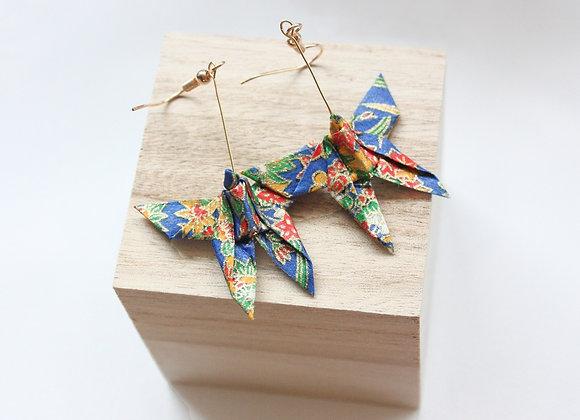 Blue Autumn Origami Butterfly Earrings