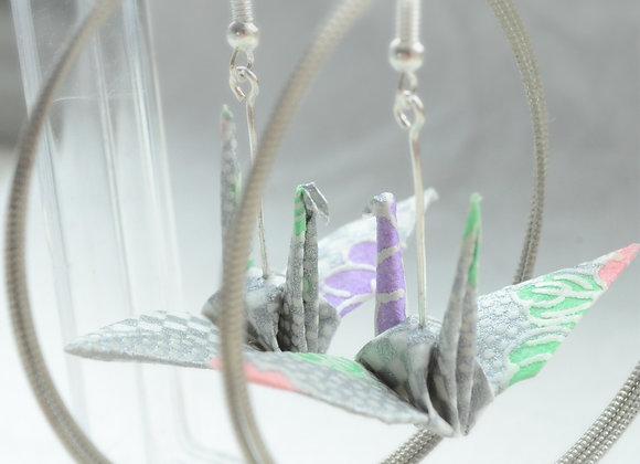 Silver Bloom Origami Crane Earrings