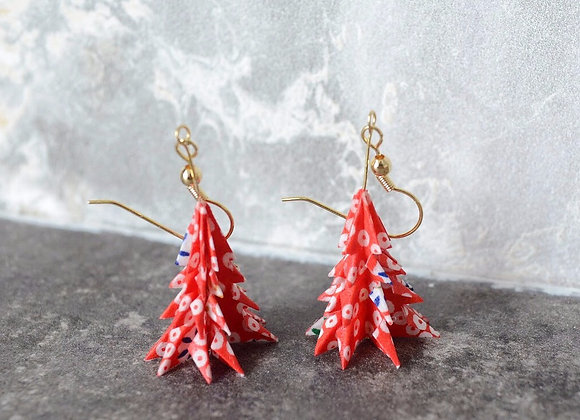 Snow-Red Origami Tree Earrings