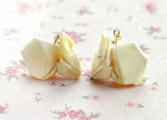 Light-Yellow Origami Rabbit Earrings