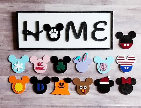 Mickey Inspired Home Sign with Interchangeable