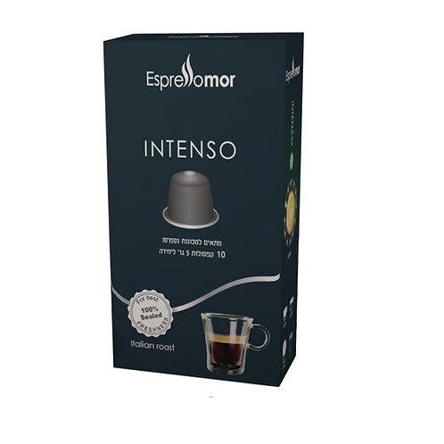 10 קפסולות Espressomor Intenso למכונת נספרסו