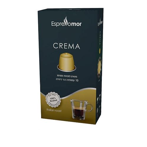 10 קפסולות Espressomor Crema למכונת נספרסו