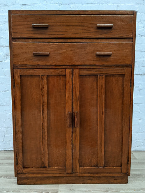 Vintage Oak Linen Cabinet