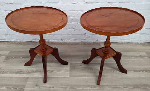 Pair Of Yew Wood Wine Tables