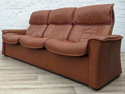 Ekornes Stressless Tan Leather reclining sofa