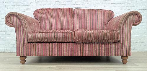 Contemporary Striped Fabric Scroll Arm Sofa