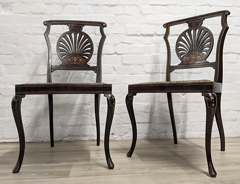 Pair Of Antique Inlaid Side Chairs