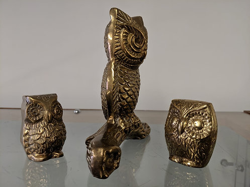 Group of vintage brass owls