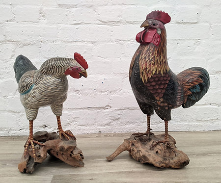 Hand painted cock and hen pair on driftwood bases