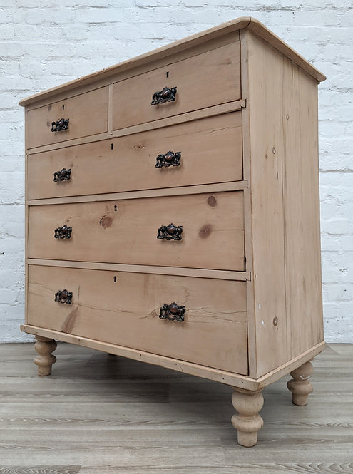 Victorian Stripped Pine Chest Of Drawers